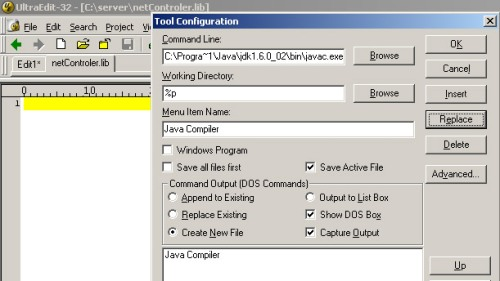 setup ultraedit for java 2